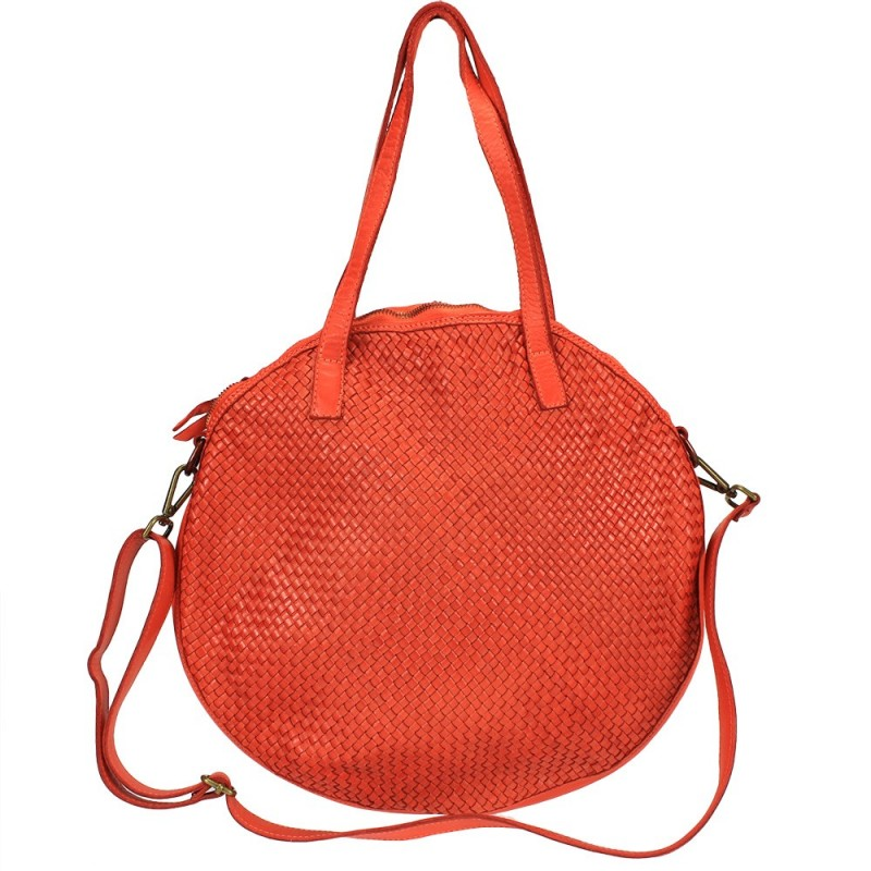 ... Round bag in vintage effect woven leather ...