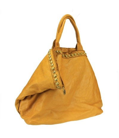 Aged effect leather  big shopping bag