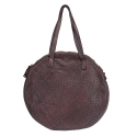 Round bag in vintage effect woven leather