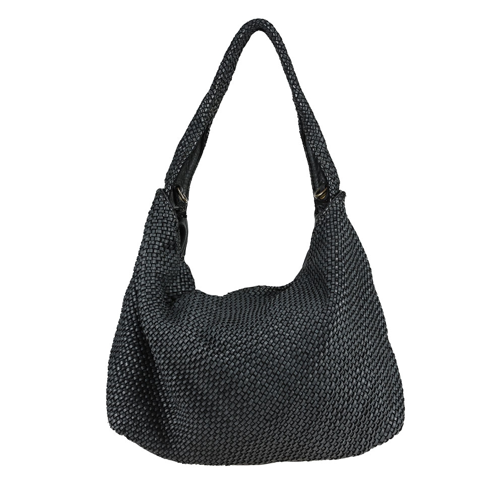 Shoulder  bag  with braided vintage effect leather