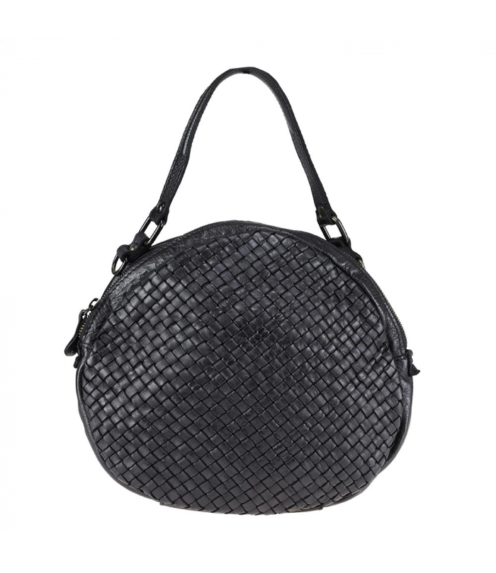 SANDRA color - Round purse with braided leather