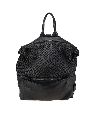 Vintage effect woven leather backpack bag