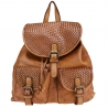 Vintage-effect woven leather backpack