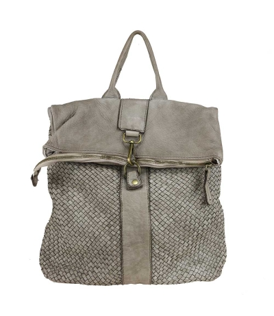 GIADA - Vintage-effect woven leather backpack