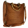 Handbag in woven leather with Bamboo handle
