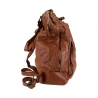 Leather backpack with vintage effect